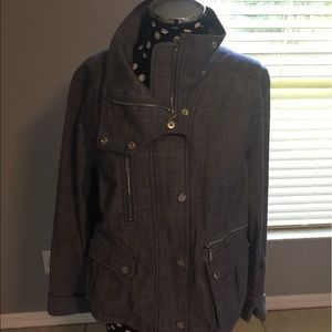 WHBM NEVER WORN moto style chambray jacket